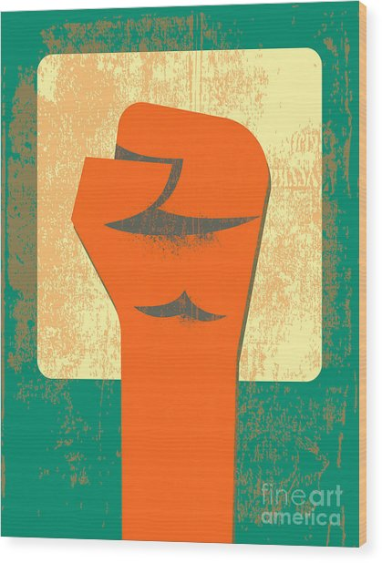 Red Clenched Fist Retro Poster Wood Print