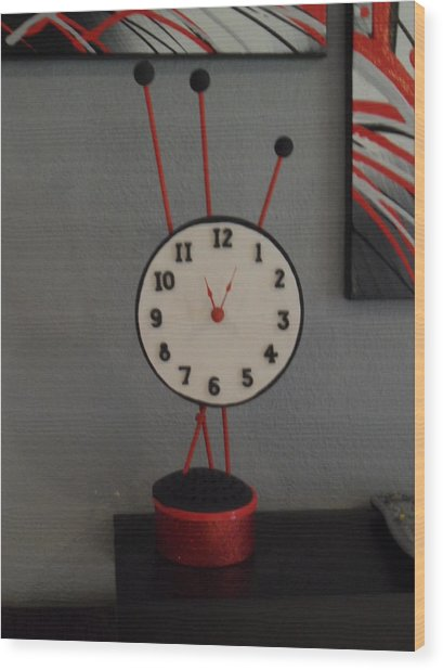 Red Clock Wood Print