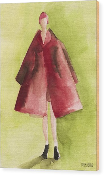 Red Coat - Watercolor Fashion Illustration Wood Print