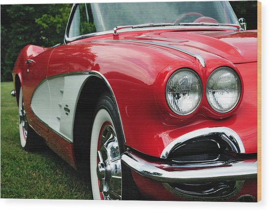 Red Corvette Wood Print