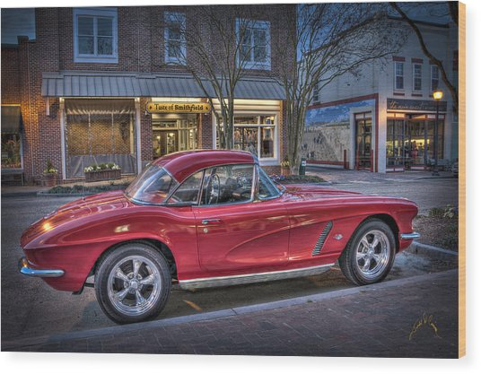 Red Corvette Wood Print by Williams-Cairns Photography LLC