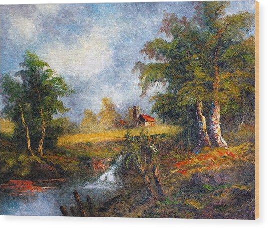 Red Cottage Wood Print