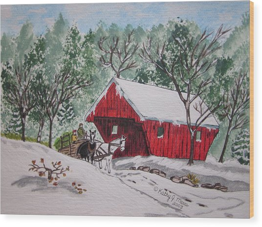 Red Covered Bridge Christmas Wood Print