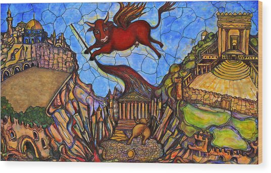 Red Cow Wood Print