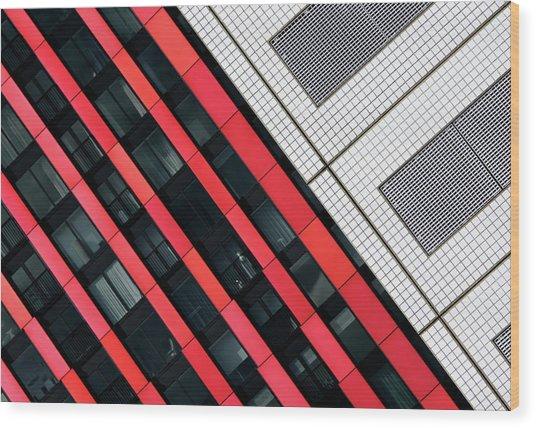 Red Diagonals. Wood Print by Greetje Van Son