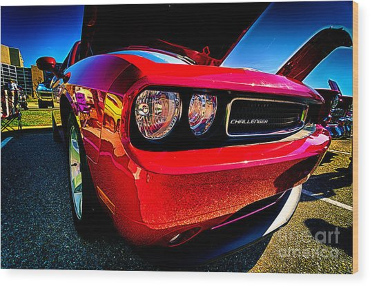 Red Dodge Challenger Vintage Muscle Car Wood Print
