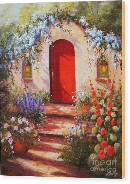 Red Door Wood Print by Gail Salitui