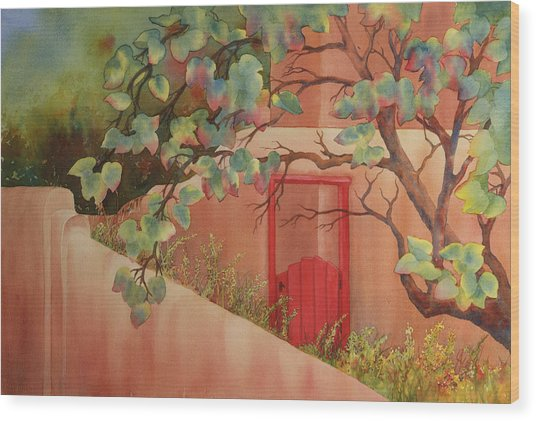 Red Door In Adobe Wall Wood Print