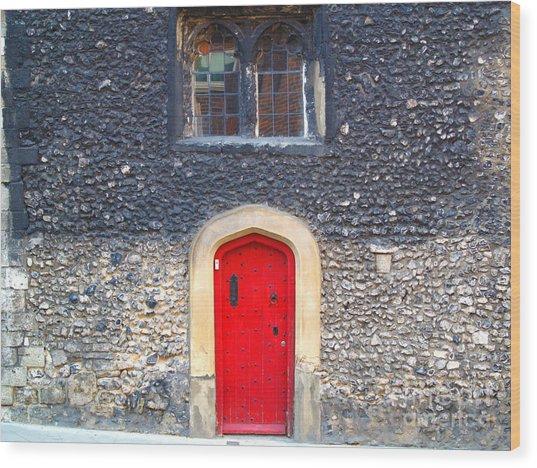 Red Door In Winchester Uk Wood Print