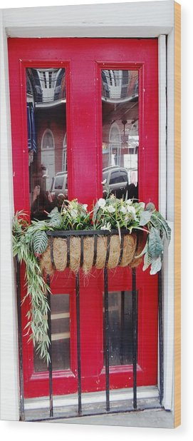 Red Door New Orleans Reflection Wood Print