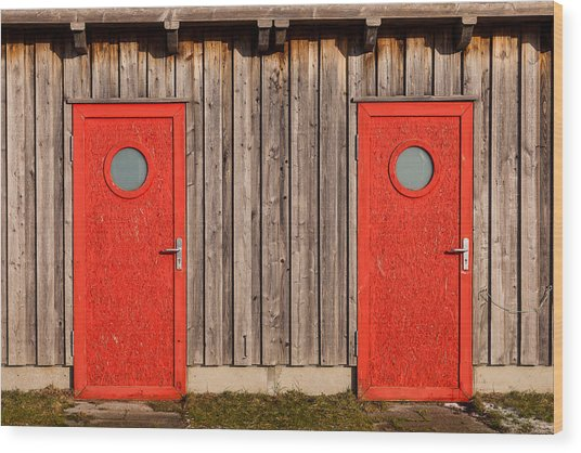 Red Door Or Red Door Wood Print