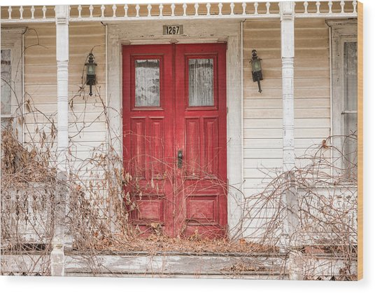 Red Doors - Charming Old Doors On The Abandoned House Wood Print