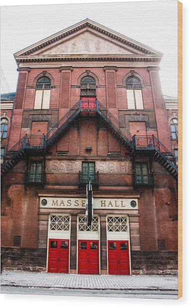 Wood Print featuring the photograph Red Doors Of Massey Hall - Front Facade - Colour by Rosemary Legge