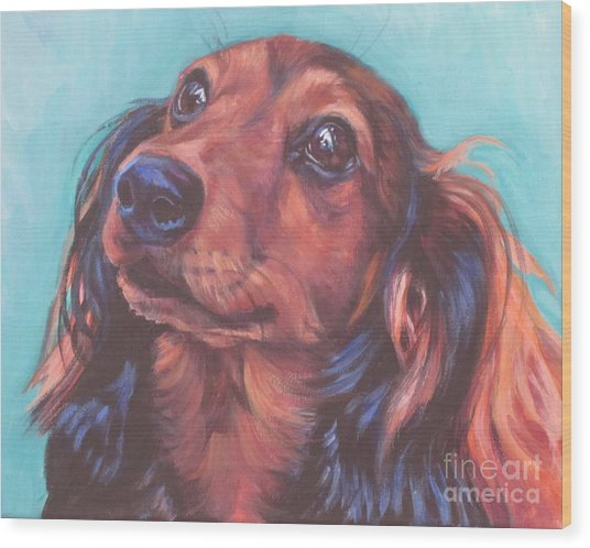 Red Doxie Wood Print