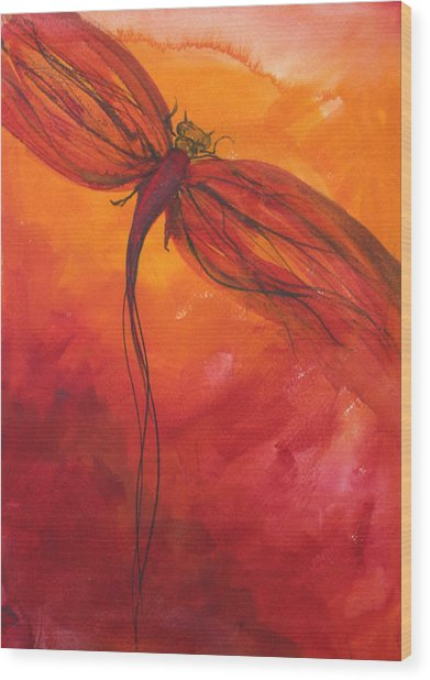 Red Dragonfly 2 Wood Print