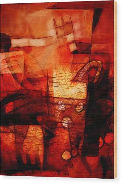 Red Drama Wood Print by Ann Croon