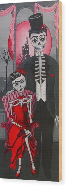 Red Engagement - Frida Y Diego Wood Print by Evangelina Portillo