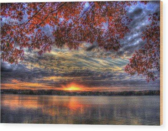 Good Bye Until Tomorrow Fall Leaves Sunset Lake Oconee Georgia Wood Print