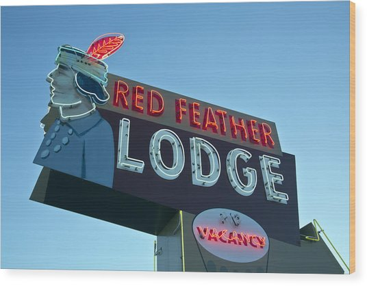 Red Feather Lodge Wood Print