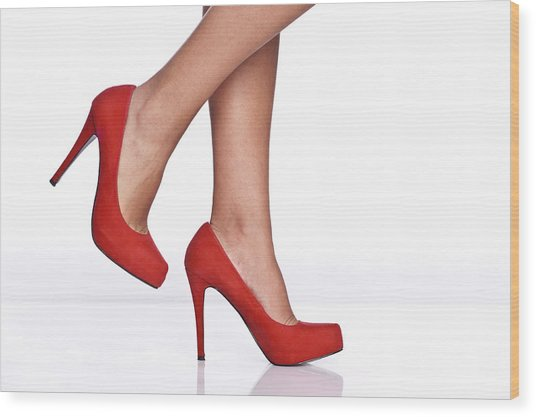 Red Female Shoes Wood Print by Juanmonino
