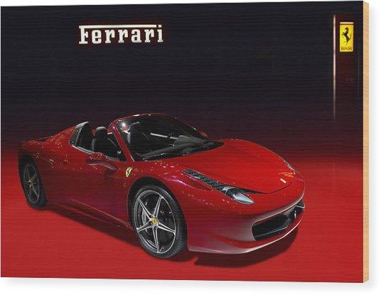 Red Ferrari Convertible Wood Print
