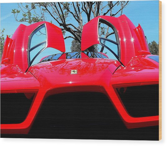 Wood Print featuring the photograph Red Ferrari Doors Open And Front Air Intakes by Jeff Lowe
