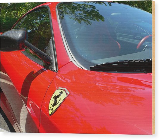 Wood Print featuring the photograph Red Ferrari Right Side by Jeff Lowe