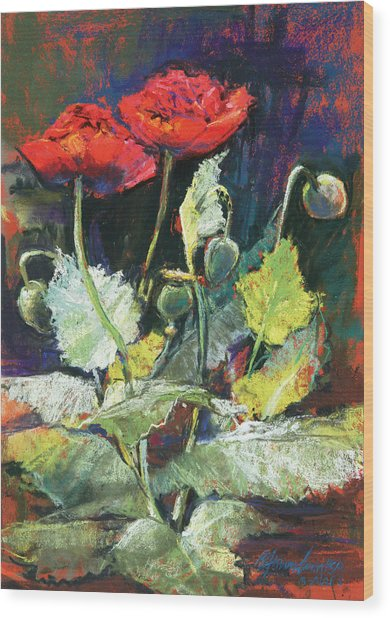 Red Flowers Wood Print by Beverly Amundson