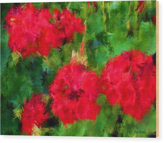 Red Flowers Impressionism Wood Print