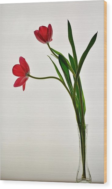 Red Flowers In Glass Vase Wood Print