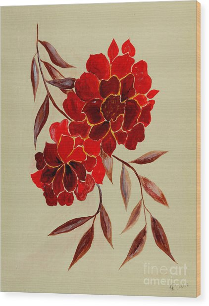 Red Flowers - Painting Wood Print