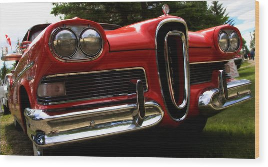 Red Ford Edsel Wood Print