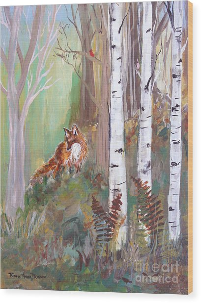 Red Fox And Cardinals Wood Print