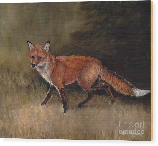 Red Fox Wood Print by Charlotte Yealey