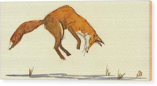 Red Fox Hunting Wood Print