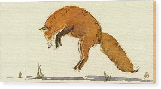 Red Fox Jumping Wood Print