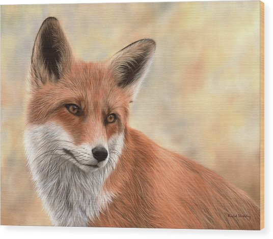 Red Fox Painting Wood Print