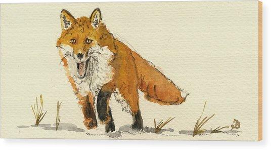 Red Fox Running Wood Print