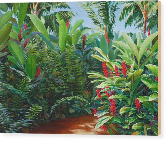 Tropical Jungle Landscape - Red Garden Hawaiian Torch Ginger Wall Art Wood Print