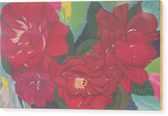 Red Garden Roses Wood Print