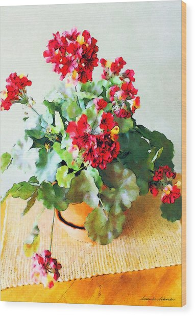 Red Geraniums Wood Print