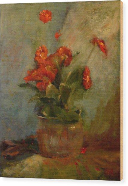 sold Red Gerberas Wood Print by Irena  Jablonski