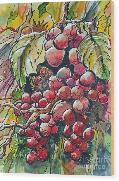 Red Grapes Wood Print