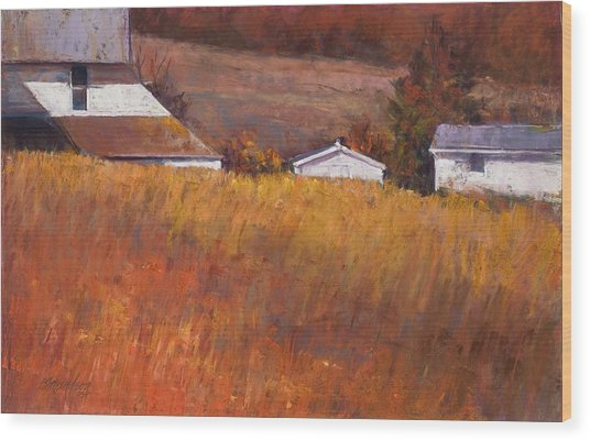 Red Grass Wood Print by Beverly Amundson