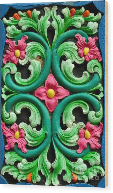 Red Green And Blue Floral Design Singapore Wood Print