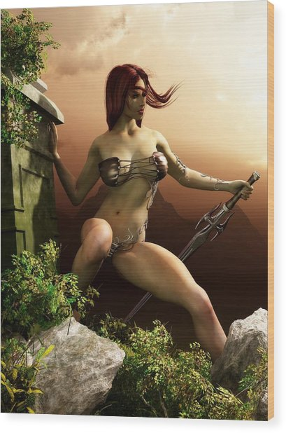 Red Haired Barbarian Woman Wood Print