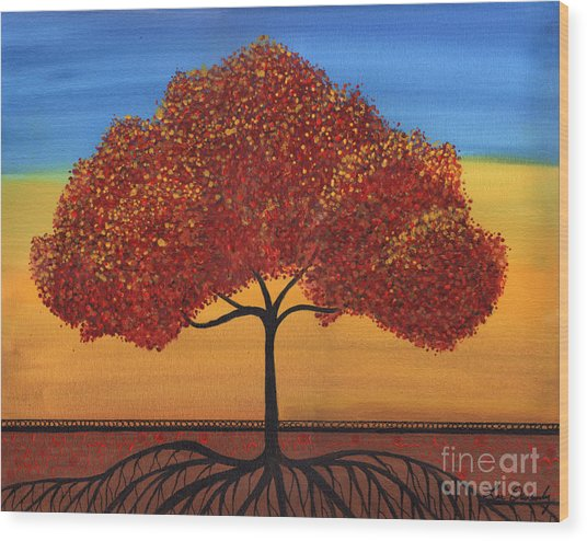 Red Happy Tree Wood Print