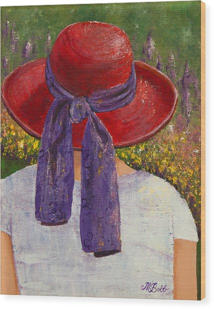 Red Hat Garden Wood Print