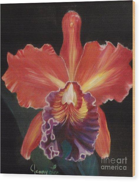 Red Hawaiian Orchid Wood Print