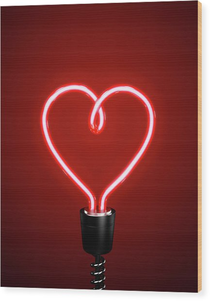 Red Heart Shaped Energy Saving Lightbulb Wood Print by Atomic Imagery